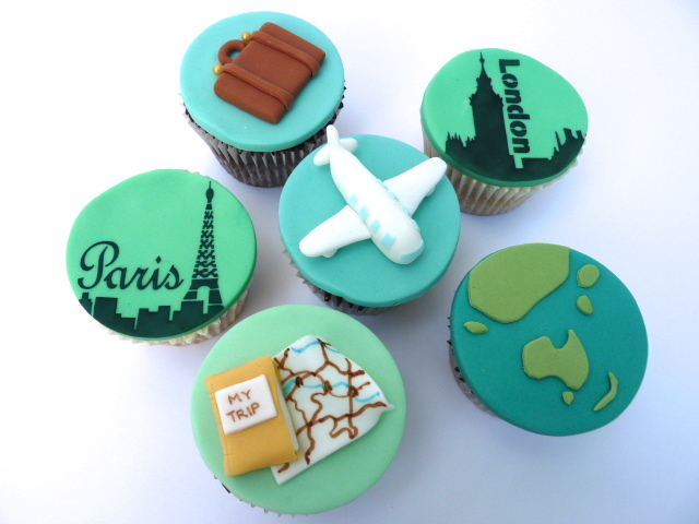 Travel=themed cupcakes