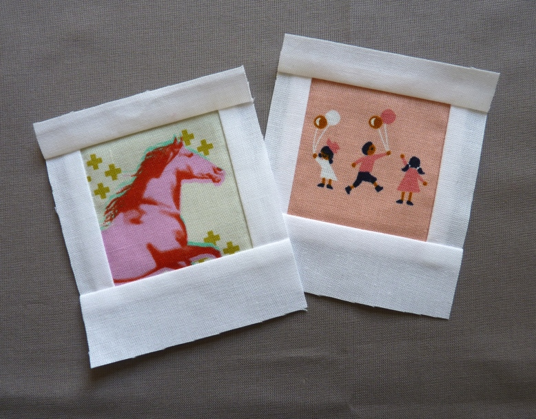 Polaroid quilt blocks in Cotton and Steel designs