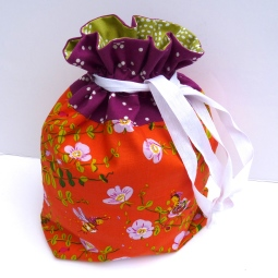 Lined drawstring bag in Briar Rose by Heather Ross