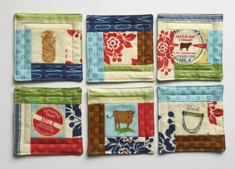 Log cabin quilted coasters