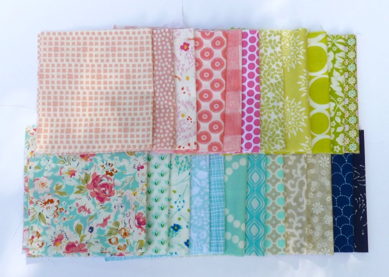 Fabric selection for heart block quilt