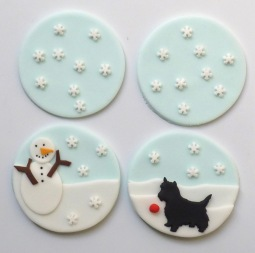 Cupcake toppers - snowman and scottie dog