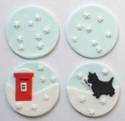 Cupcake toppers - letter box and scottie dog
