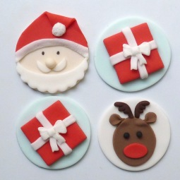 Cupcake toppers - Santa, presents and Rudolf