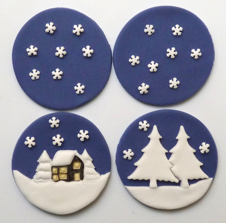 Cupcake toppers - snow scene