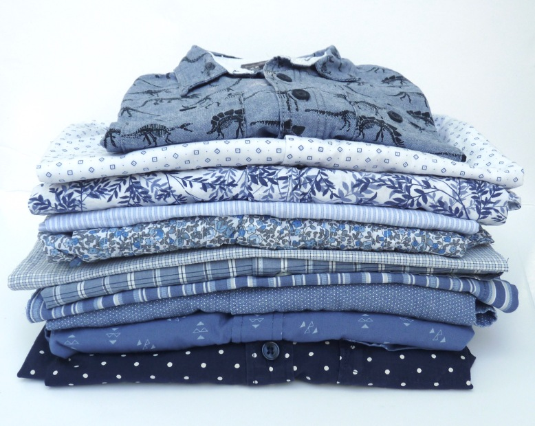 Stack of blue and white shirts