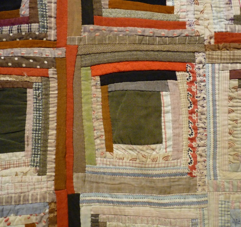 Detail of Log Cabin quilt made in 1900 - Rheged Gallery - New Quilting exhibition