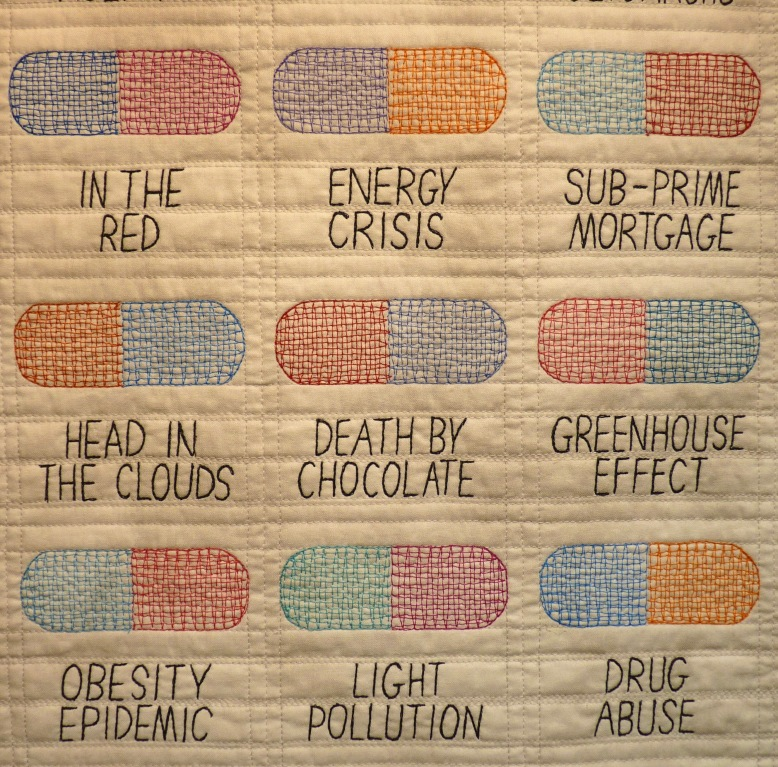 Detail of Bitter Pills quilt by Sara Impey - Rheged Gallery - New Quilting exhibition
