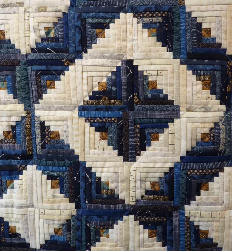 Detail of Blue Cabin quilt by Joy Salvage - Rheged Gallery - New Quilting exhibition