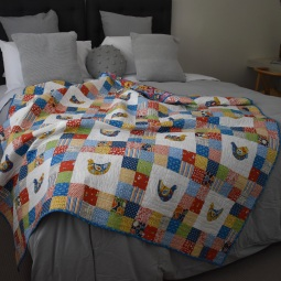 Scandi bird patchwork quilt