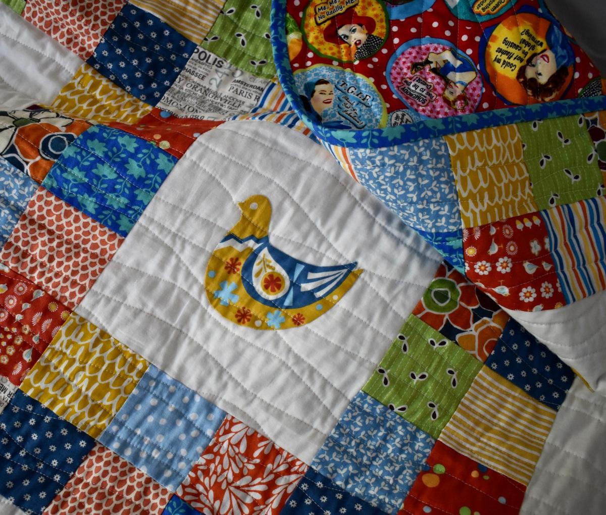 Scandi bird patchwork quilt - detail