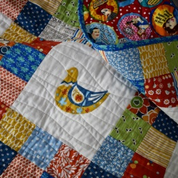 Scandi bird patchwork quilt - detail