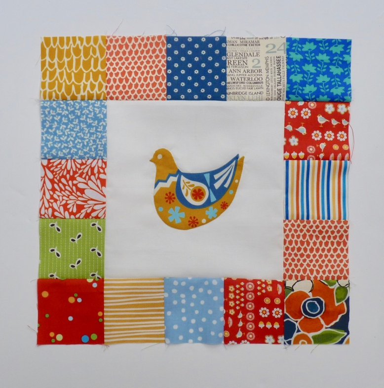 Scandi bird quilt block