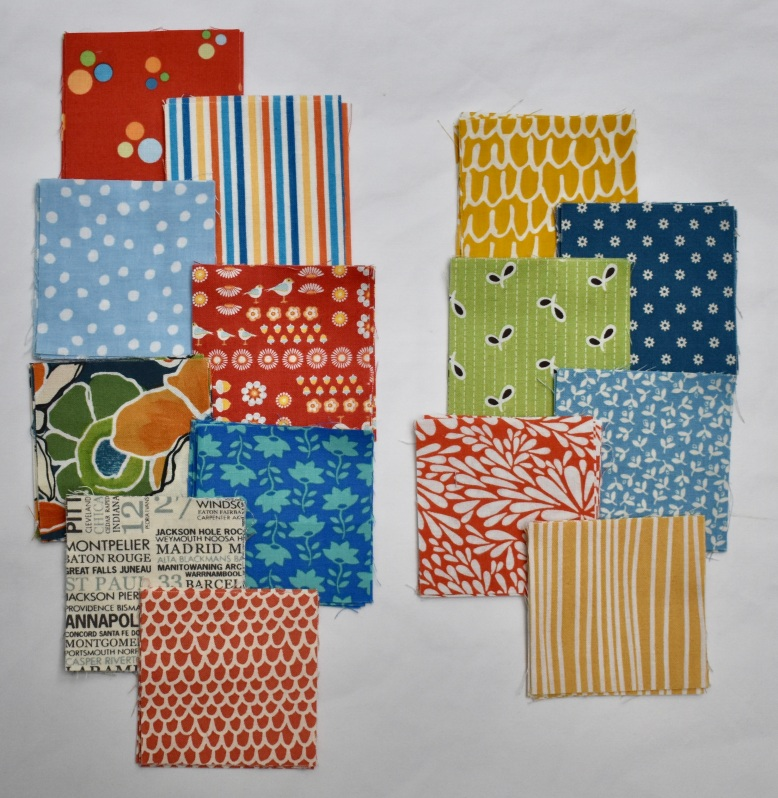 Fabrics used in scandi bird quilt